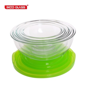 colorful Glass salad bowl with lid oven and microwave safe