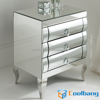 Modern Curved Mirrored Drawers Narrow Small Mirror Bedside Table For