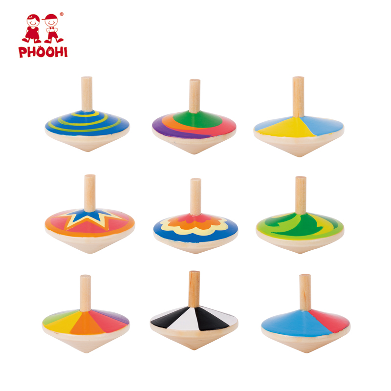 In stock 9 styles kids play game toy children wooden spinning top toy for toddler 3+
