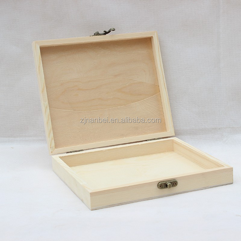 Custom natural color unfinished solid pine wood cigar box gift boxes