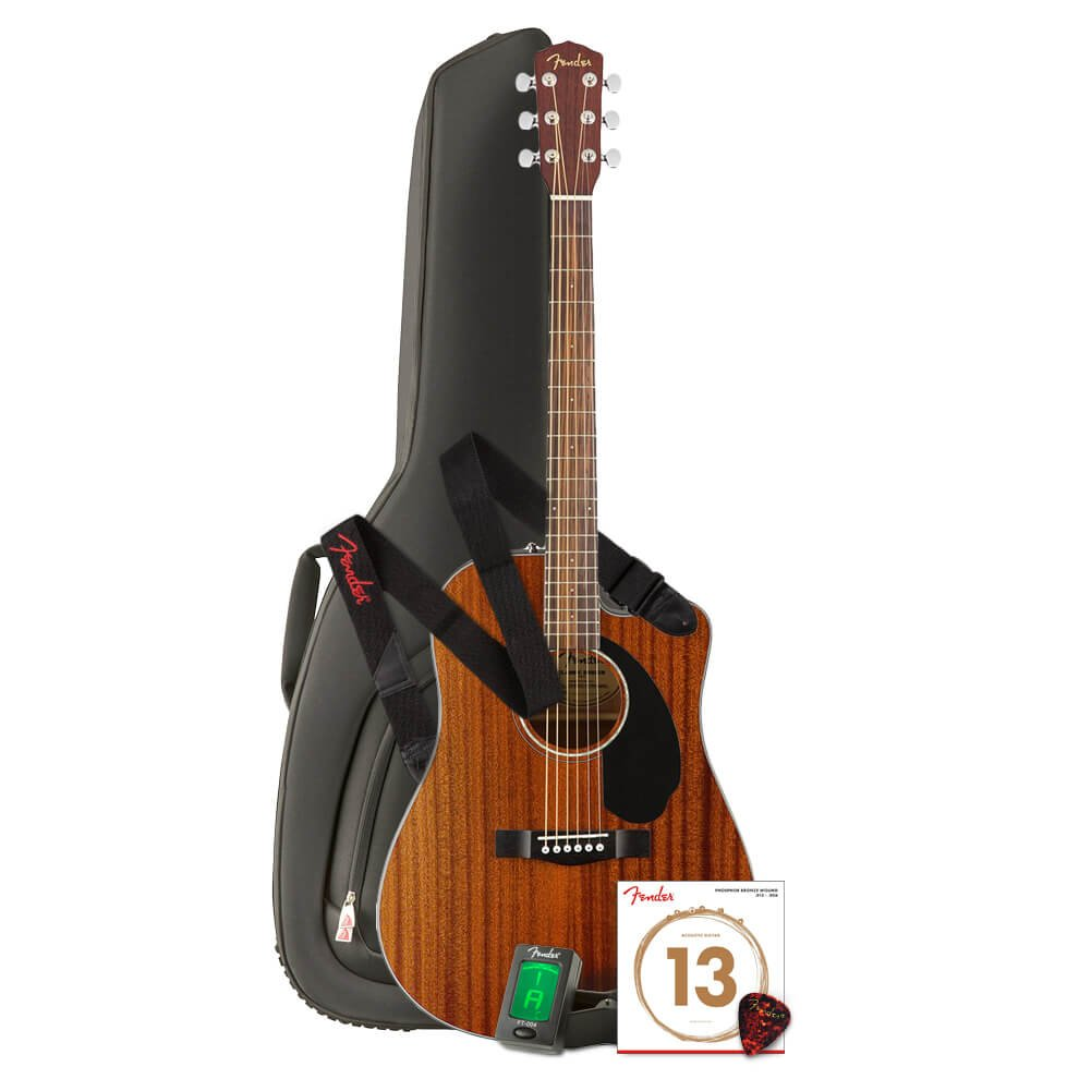 Fender CD-60SCE All Mahogany Acoustic-Electric Guitar with Gig Bag,Clip-On Tuner,Poly Strap,Phosphor Bronze Ball End Strings,Classic Picks,Performance Series Instrument Cables