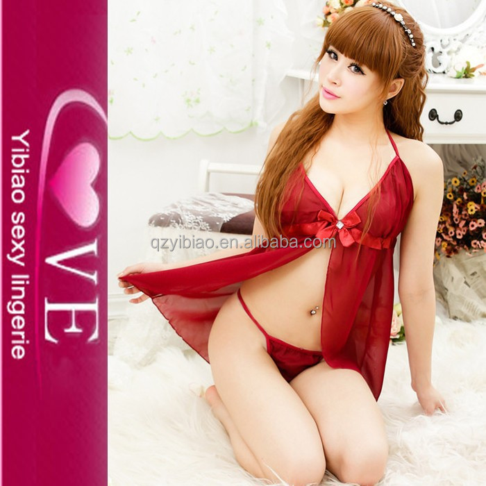 Open Front Red Kiss Heart Mature Woman See-through Babydoll Sexy Revealing Lingerie