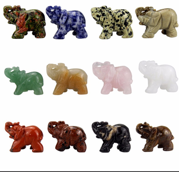 Crystal Elephant Statue Craft Carved Natural Stone Elephant Figurine