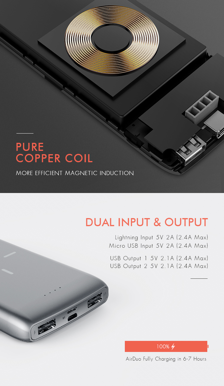 Charge 3 devices simultaneously qi compatible wireless power bank 10000mah mobile