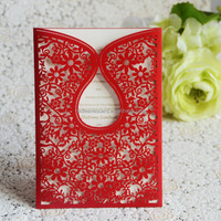 Chinese red craft laser Arabic/Indian/muslim/chinese wedding invitation card