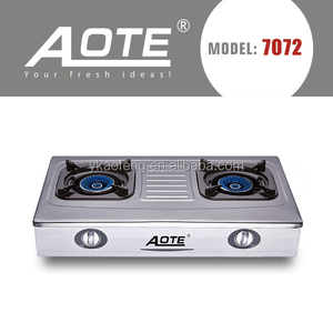 CE automatic portable stainless steel gas stove two burner