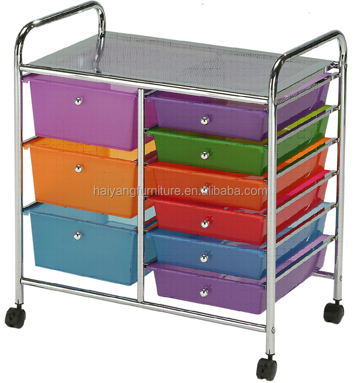 Home Office Rolling Cart Steel Frame Plastic Storage Drawer Organizer Cart  With 6 Plastic Drawers