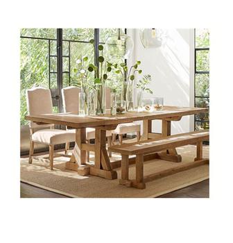 2018ヨーロッパスタイルの木製家具屋内ダイニングセットでベンチ大理石ダイニングテーブルセット
