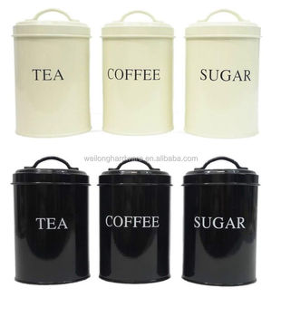 High Quality Black Cream White Metal Coffee Sugar Tea Storage Canister With Handle