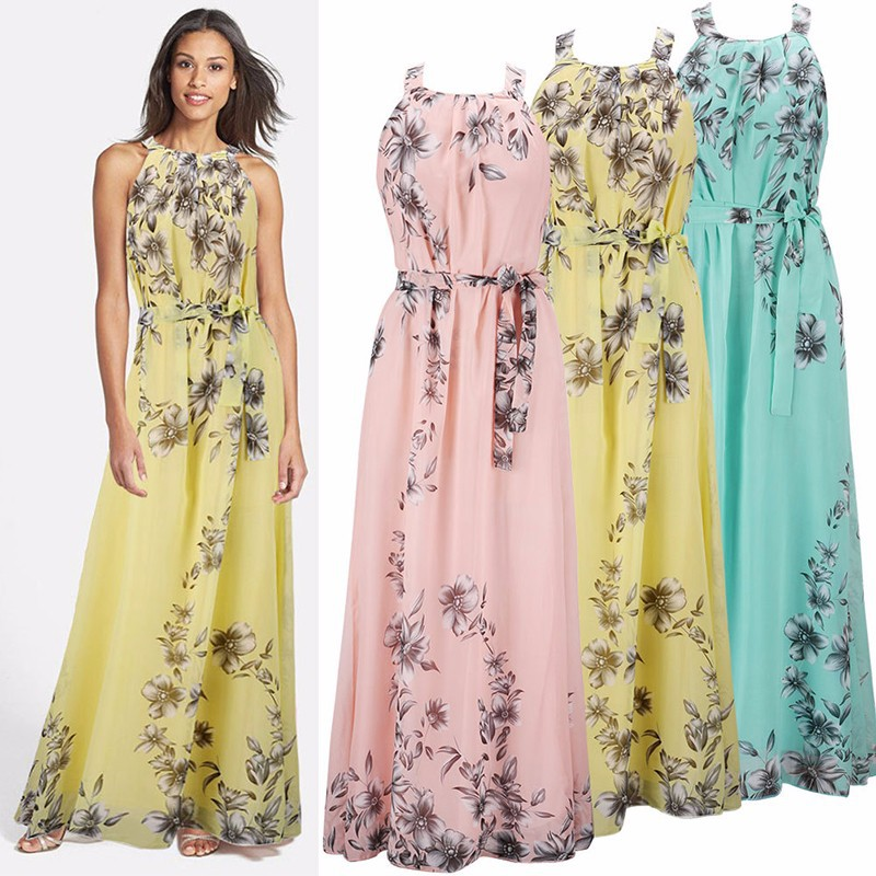 0c2ed5f89be 2017 Womens Summer Long Beach Dresses Ladies New Fashion Floral Print  Sleeveless Chiffon Maxi Dress