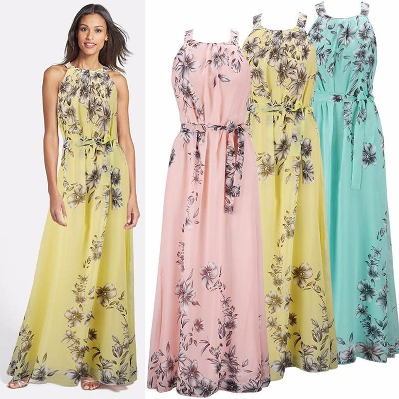5b85b0fa428 2017 Womens Summer Long Beach Dresses Ladies New Fashion Floral Print  Sleeveless Chiffon Maxi Dress