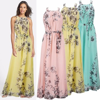 2017 Womens Summer Long Beach Dresses Las New Fashion Fl Print Sleeveless Chiffon Maxi Dress