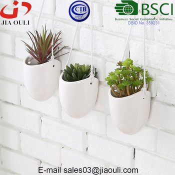 Hot Sale Modern White Ceramic Rope Hanging Planters Succulent