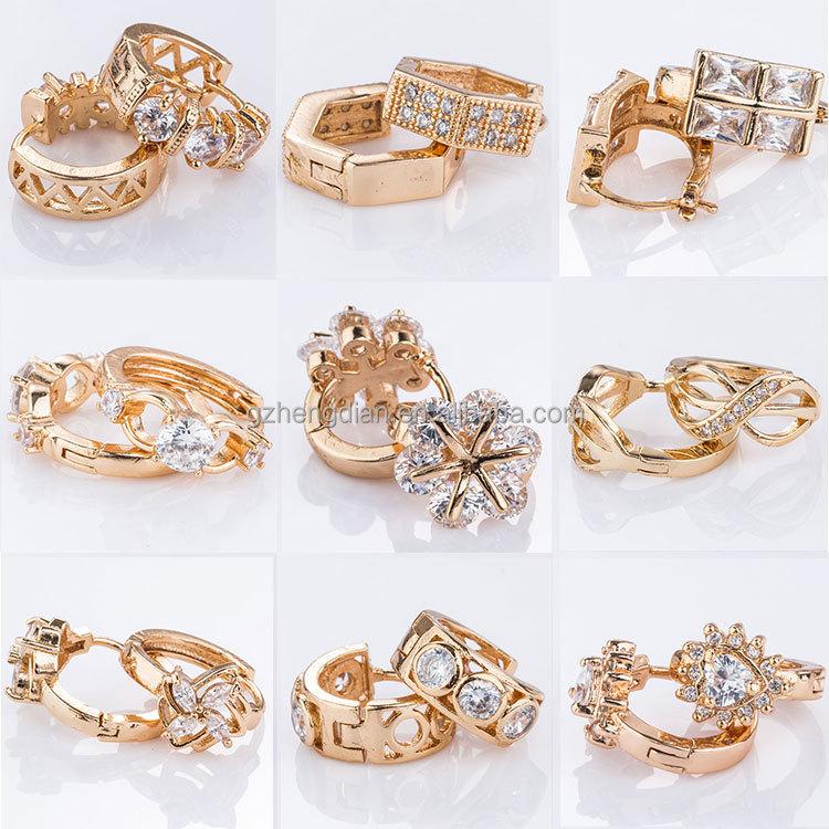 Fashion Jewelry Fancy Design 18k Solid Light Weight Gold Earring ...