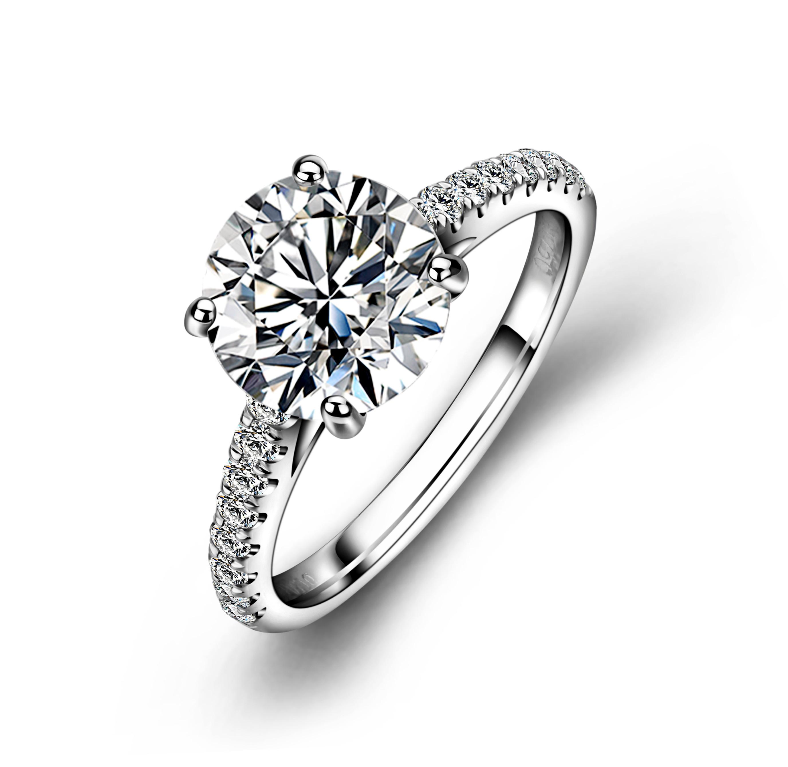 Ultima moda Su Misura 18 k oro bianco diamante sintetico anello di fidanzamento moissanite