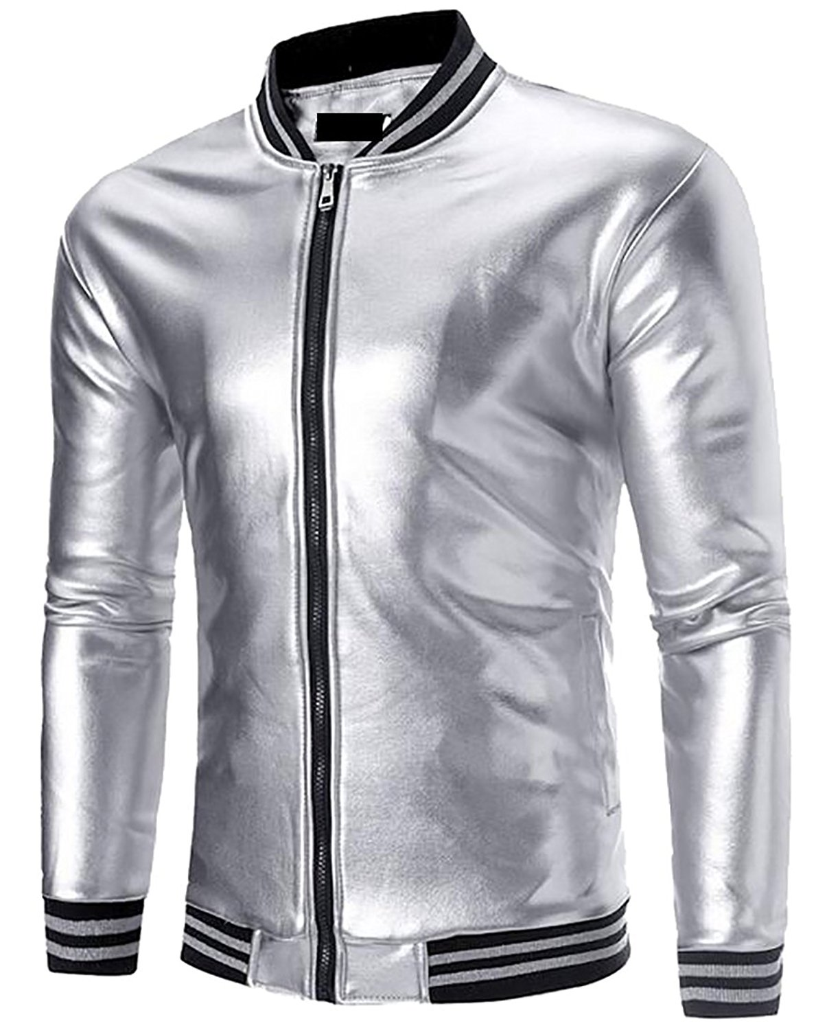 ainr Mens Warm Casual Slim Fit Shiny Metallic Zip Up Slim Fit Stand Collar Jacket/Night Club Stage Jacket