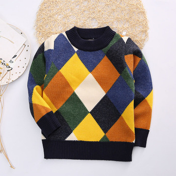 Hao Baby New Winter Boys Fashion Diamond Round Collar Color Sweater , Buy  Baby Boy Sweater Designs,Boy Kid Sweater,Wool Sweaters Children Product on