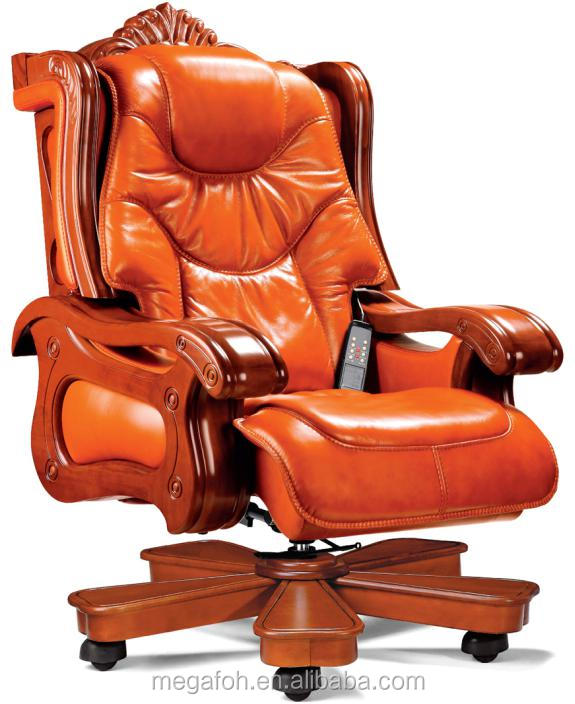 Luxury Office Furniture Swivel King Throne Chair With Wooden Footrest Foh A01