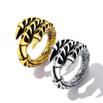 Fashion jewelry men's titanium steel gecko finger ring
