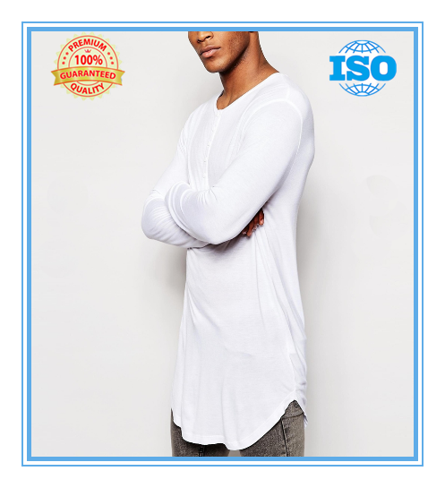 Bamboo Jersey Super Longline Long Sleeve T-Shirt With Grandad Neck