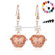 Hollow out apple rose gold stone dangle shape essential oil diffuser Teardrop Earring