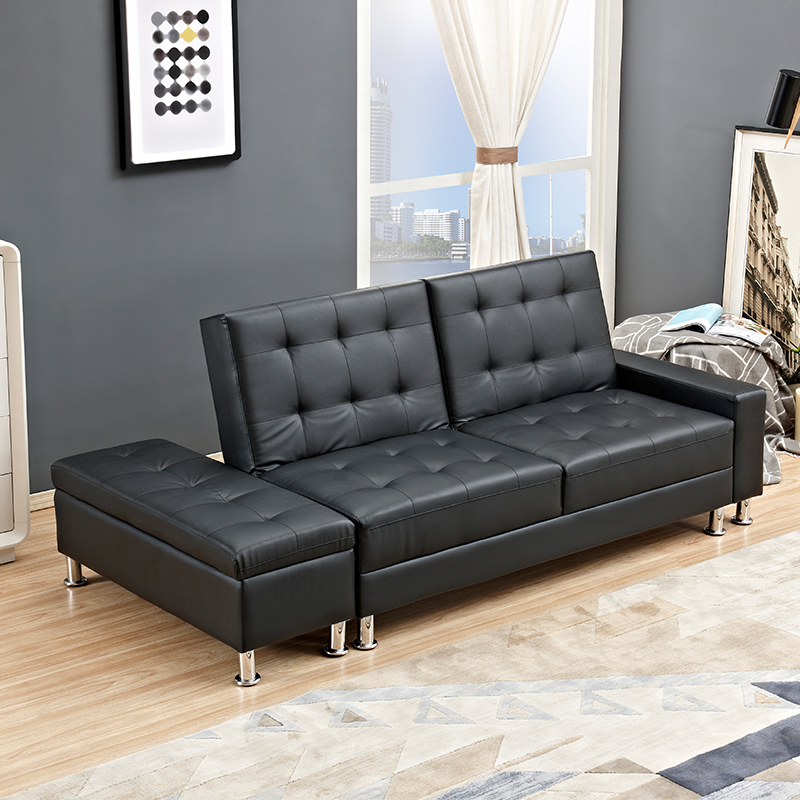 Modern design yes fold sofa for hotel,Modern design yes fold sofa for office,Black pu leather sofa bed for living room