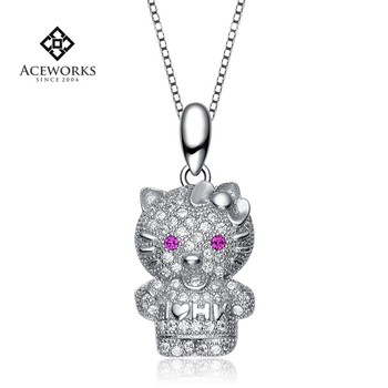 Wholesale cat hello kitty 925 sterling silver pendant buy sterling wholesale cat hello kitty 925 sterling silver pendant aloadofball Images