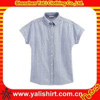 wholesale short sleeves custom emborider shirt silk fabric women blank blouses
