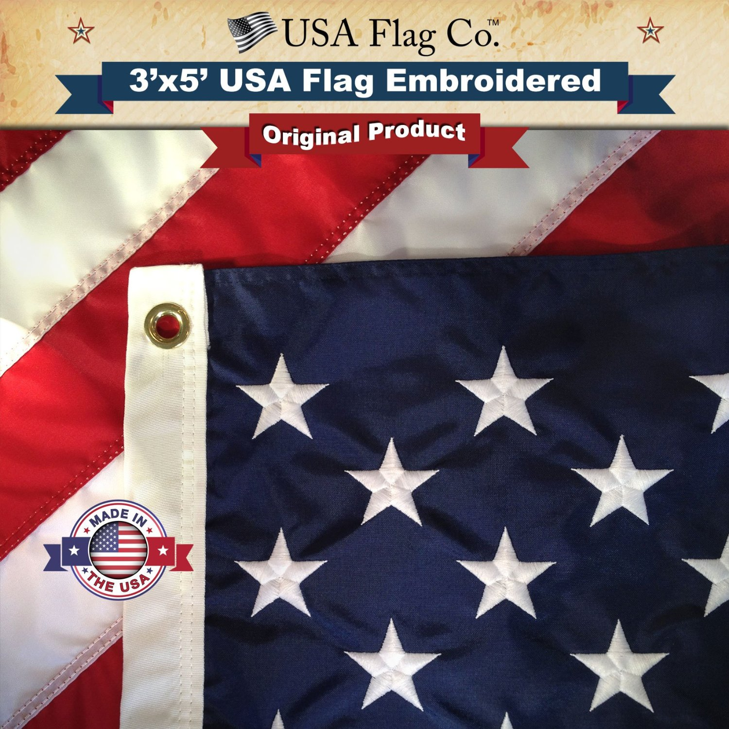 American Flag by USA Flag Co. is 100% American Made: The BEST 3x5 Embroidered Stars and Sewn Stripes, Made in the USA, & comes with Amazon A to Z Guarantee. (3 by 5 foot)