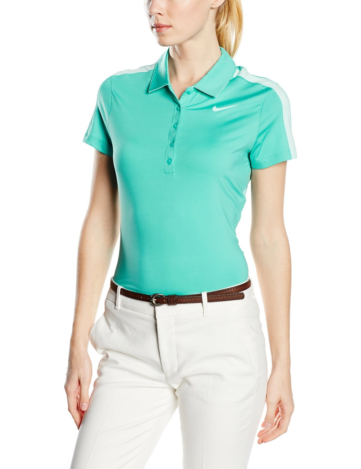 25a42e29 Get Quotations · Nike Womens Dri-Fit Swoosh Mesh Golf Polo Teal 640344-405  SIZE SMALL