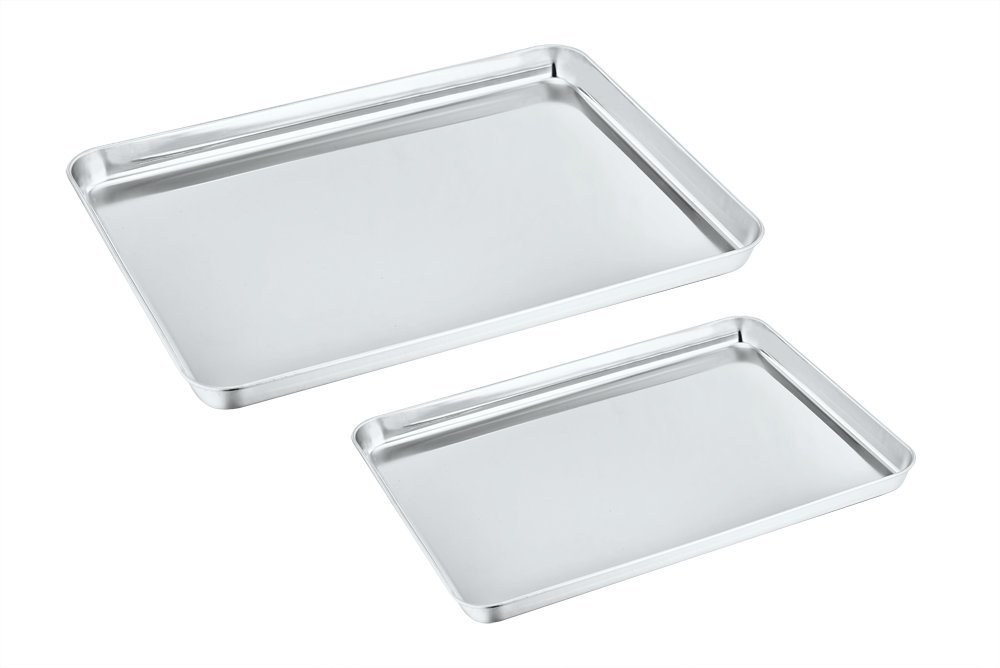 Toaster Oven Pan Tray Set of 2, P&P Chef Stainless Steel Small Baking Sheets Pans, Rectangle Shape & Deep Rim, Non Toxic & Dishwasher Safe