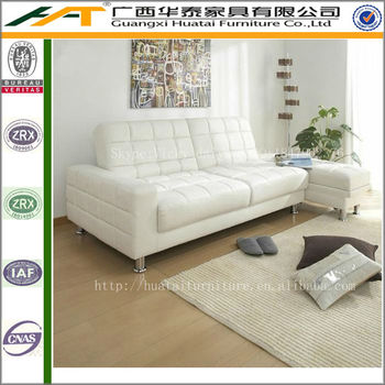 White Folding Multifunction Pu Leather Sofas Double Sofa Bed With Storage