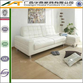 White Folding Multifunction Pu Leather Sofasdouble Sofa Bed With