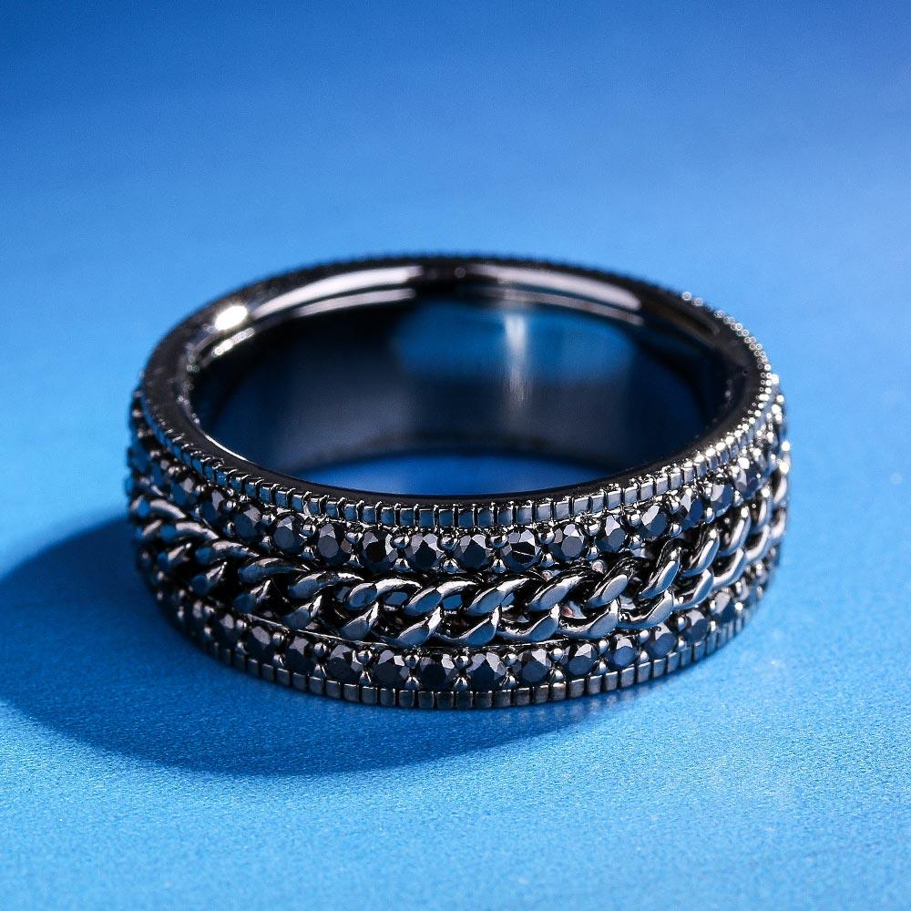 KRKC&CO Size 8 Black Gold Iced Out Cuban Rotating Ring Hip Hop Jewelry for amazon/ebay/wish online store for Wholesale
