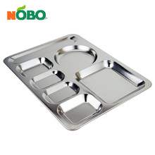 Large stainless steel cafeteria tray