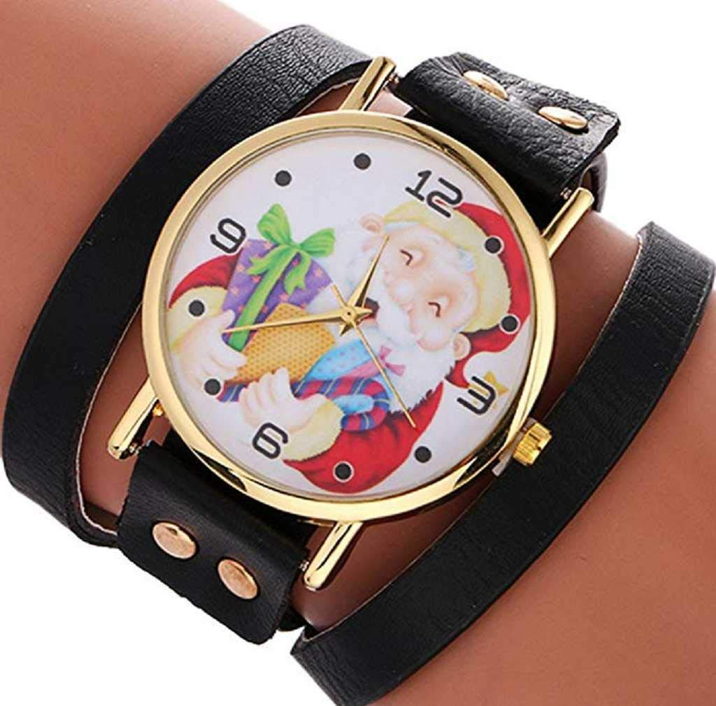 Clearance Sale! Womens Watches,ICHQ Womens Bracelet Watches Ladies Watches Christmas Santa Claus Female Watches on Sale Cheap Leather Chain Watch (Black)