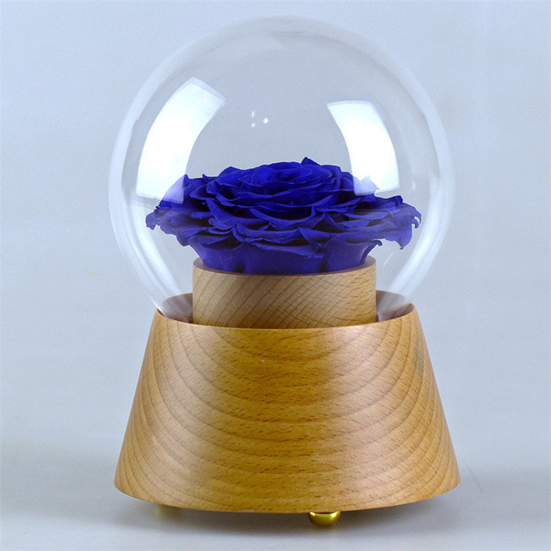 Preserved rose 7cm artificial flower head with led lights