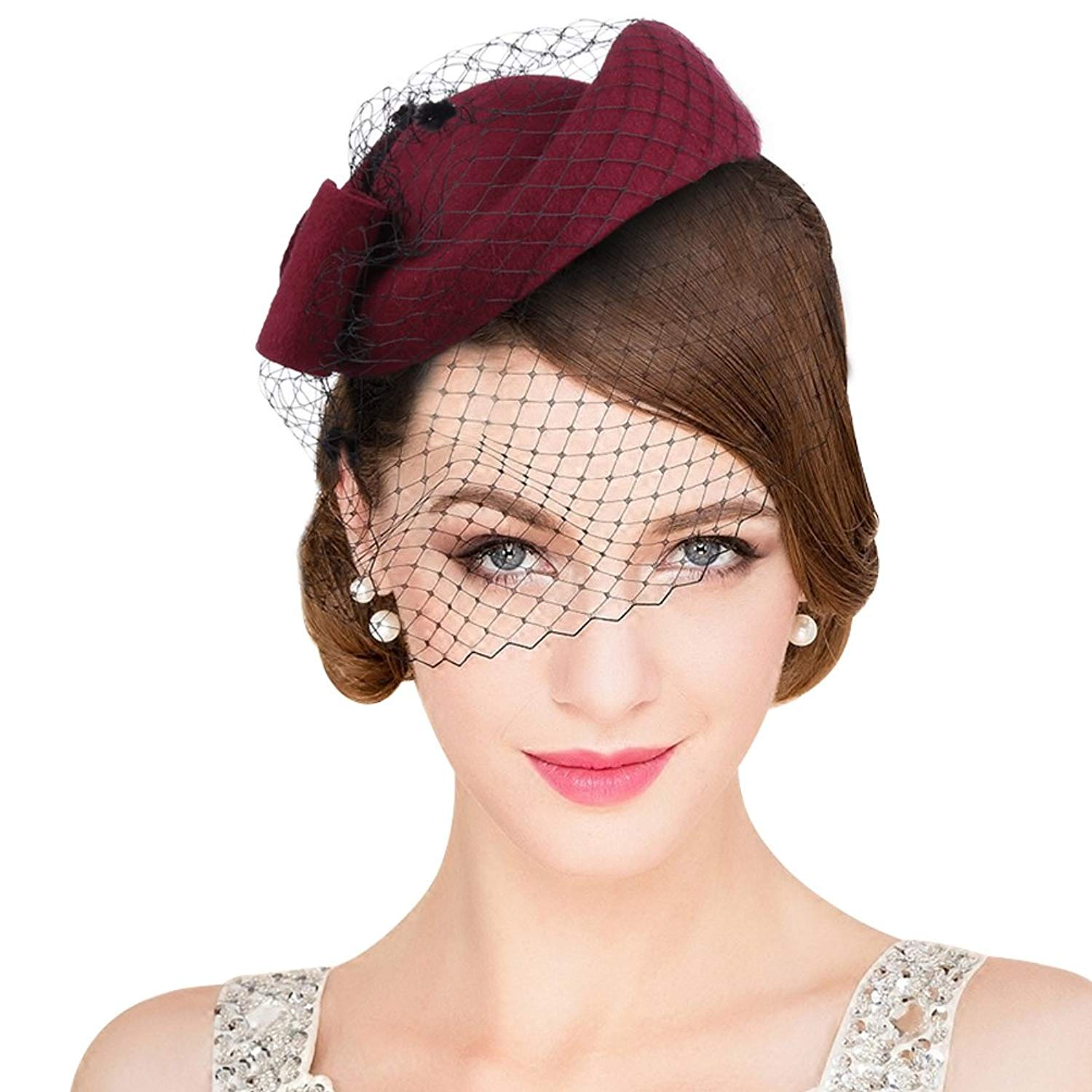 5b84b5d0edf VBIGER Women Fascinator Hats Derby Wedding Hats Vintage Hat Pillbox Hat  Woollen Felt Hat Bow Veil Party Hat for Women