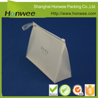 handled plastic zipper pouch/ bag with customized logo print
