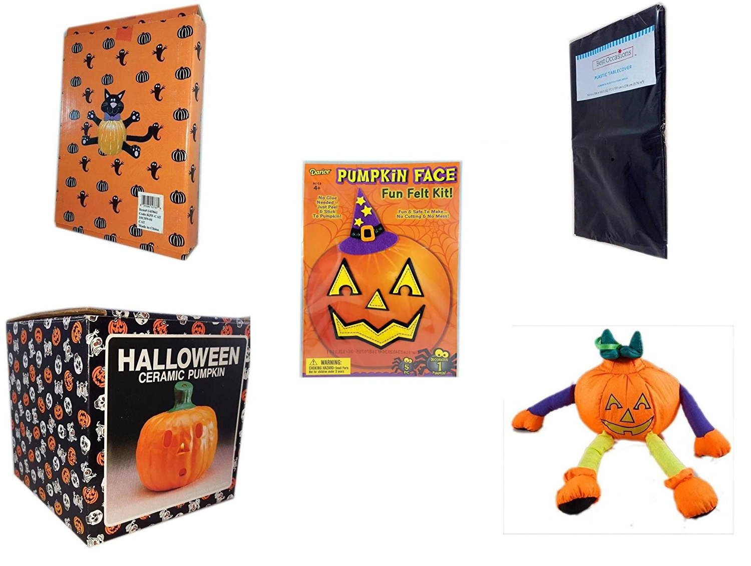 Halloween Fun Gift Bundle [5 piece] - Halloween Cat Pumpkin Push In 5 Piece Head Arms Legs - Black Plastic Table Cover Halloween - Darice Pumpkin Face Fun Felt Kit - Witch - Halloween Ceramic Pumpki