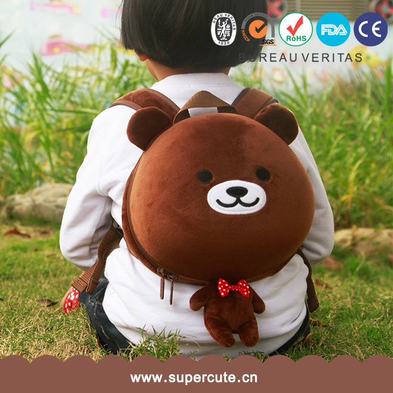 China Manufacturer OEM Design Custom EVA Plush bear custom printed bags backpack