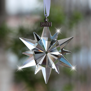 Crystal glittering snowflake ornament for car decoration christmas outdoor white snowflake ornaments