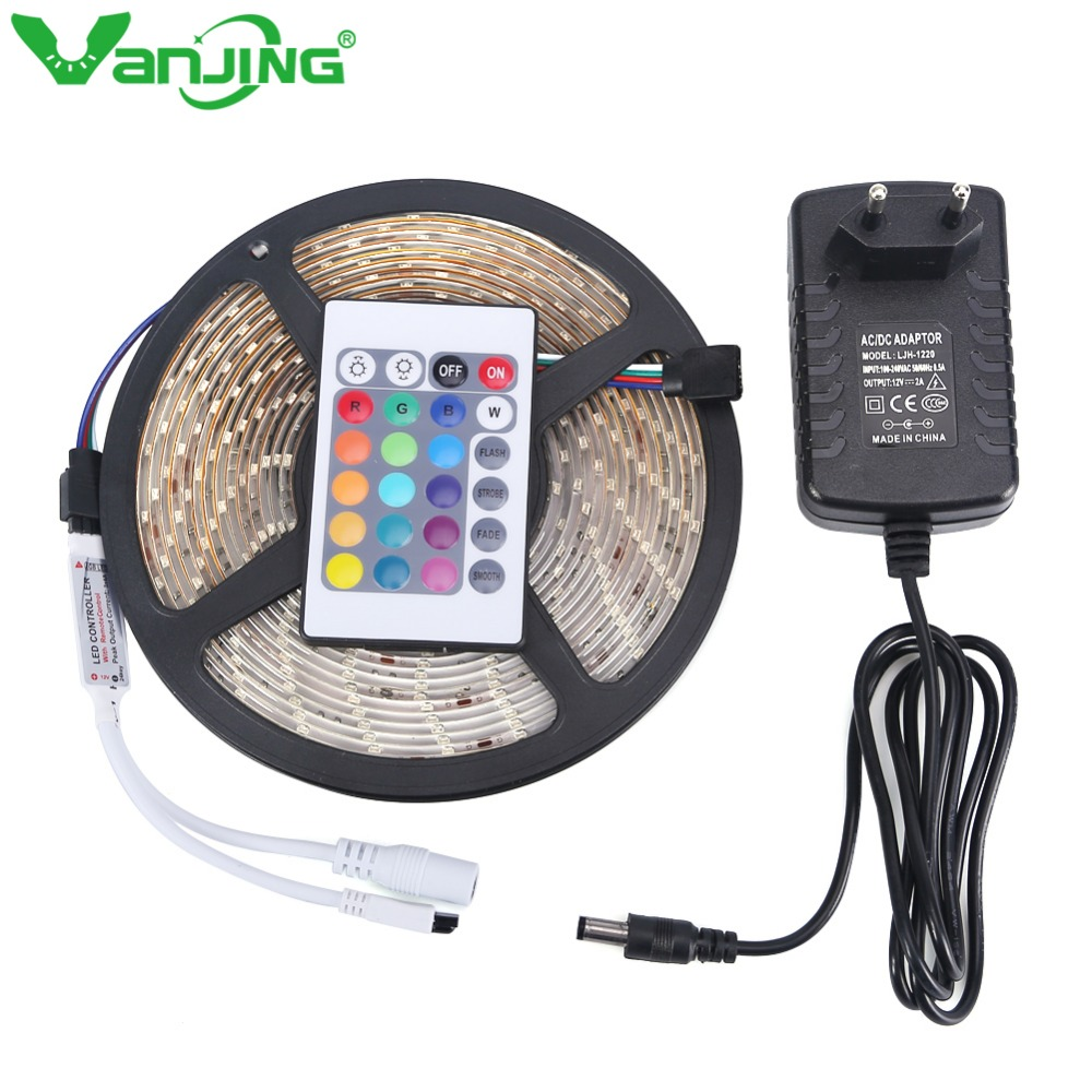 waterproof rgb led strip 5m 300leds 3528 smd 24key ir remote controller 12v 2a power adapter. Black Bedroom Furniture Sets. Home Design Ideas