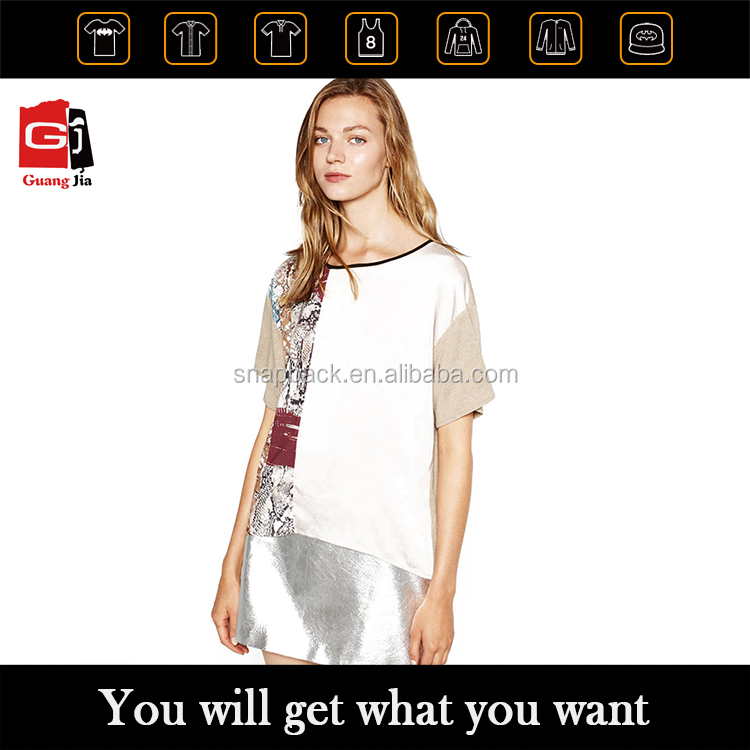 OEM top fashion women leisure plain extra long length t-shirts