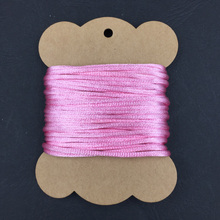 2mm satin silk cord pink color packed paper card
