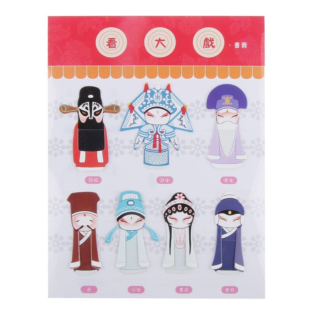 Set of 7 Cartoon Bookmarks Book Label Chinese Beijing Opera Masks