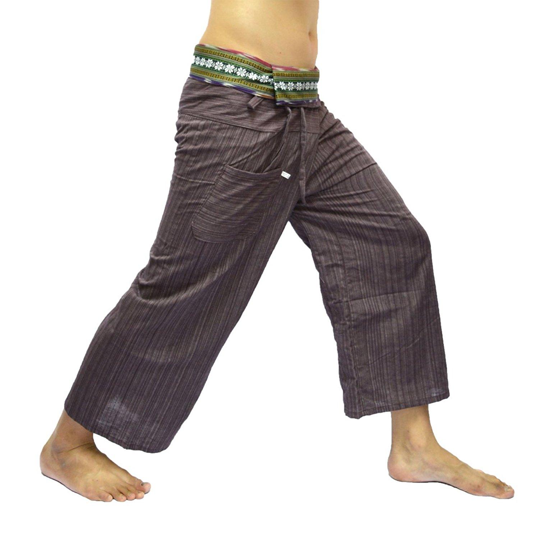 jing shop Thai Fisherman Wrap Pants Cultural Tribal Pattern Print Sturdy Cotton