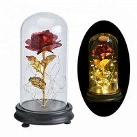 New Products Beauty 24k Gold Foil Rose Wholesale Golden Roses Flower With Led Lights In Glass Dome For Gift