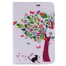 Good Quality tree and cat pattern protective leather case For iPad mini 4 with sleep wake up function
