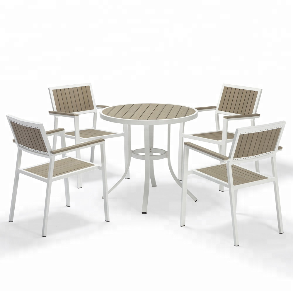 Chair Snack Bar White Set Poly Wood Patio Modern Style Round Dining Table For 4 Seater